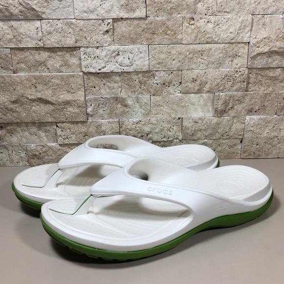 3229fb7b7d7a3 CROCS Shoes | Flip Flop Mens Athens White Green Size 11 | Poshmark